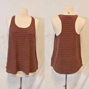Forever 21 Gray & Red Striped Silk Racerback Tank